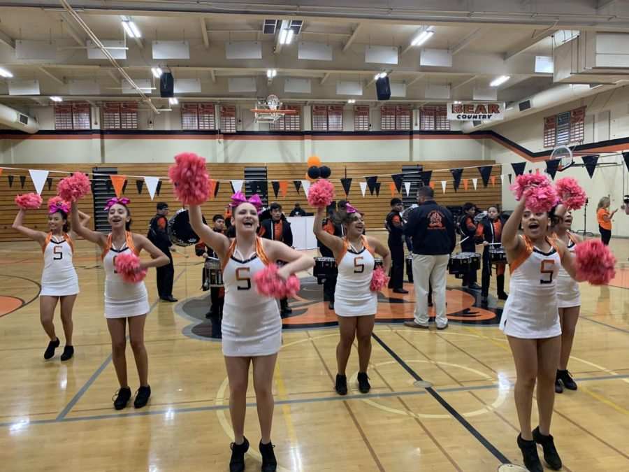 The Selma High Cheer Squad performing in the school's Morning Rally. Photo by Dashrit Pandher