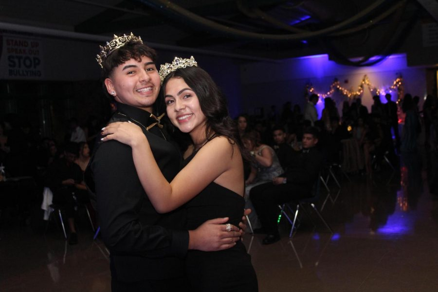 Senior Jesus Aguilera and junior Pamela Hernandez share a dance together after being crowned Formal King and Queen. Photo by Jada Smith