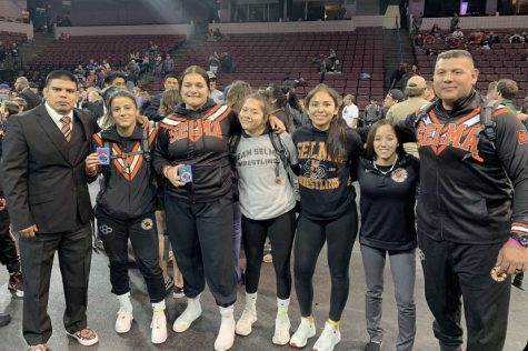 Left to Right: Coach Jose Mendoza, senior Melanie Mendoza, juniors Arykah Cuevas, Mariah Valdez, Vanessa Mares, and Coach Ernie Estrada pose for a picture after successful matches at the state championships.  Photo Contributed by Vanessa Mares