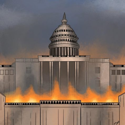 A recreation of the Capitol in a chaotic state during its invasion by domestic terrorists.  Illustration by Jayden Barnes