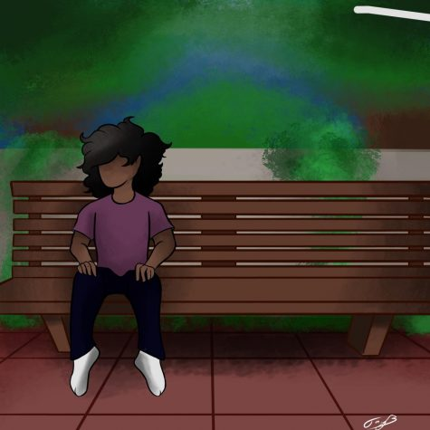 An image of a curly haired girl mirrors the famous imagine of Forest Gump on his bus stop bench. Graphic Provided by Jayden Barnes